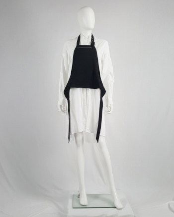 Lieve Van Gorp black short apron with belt strap and zipper — 1990's