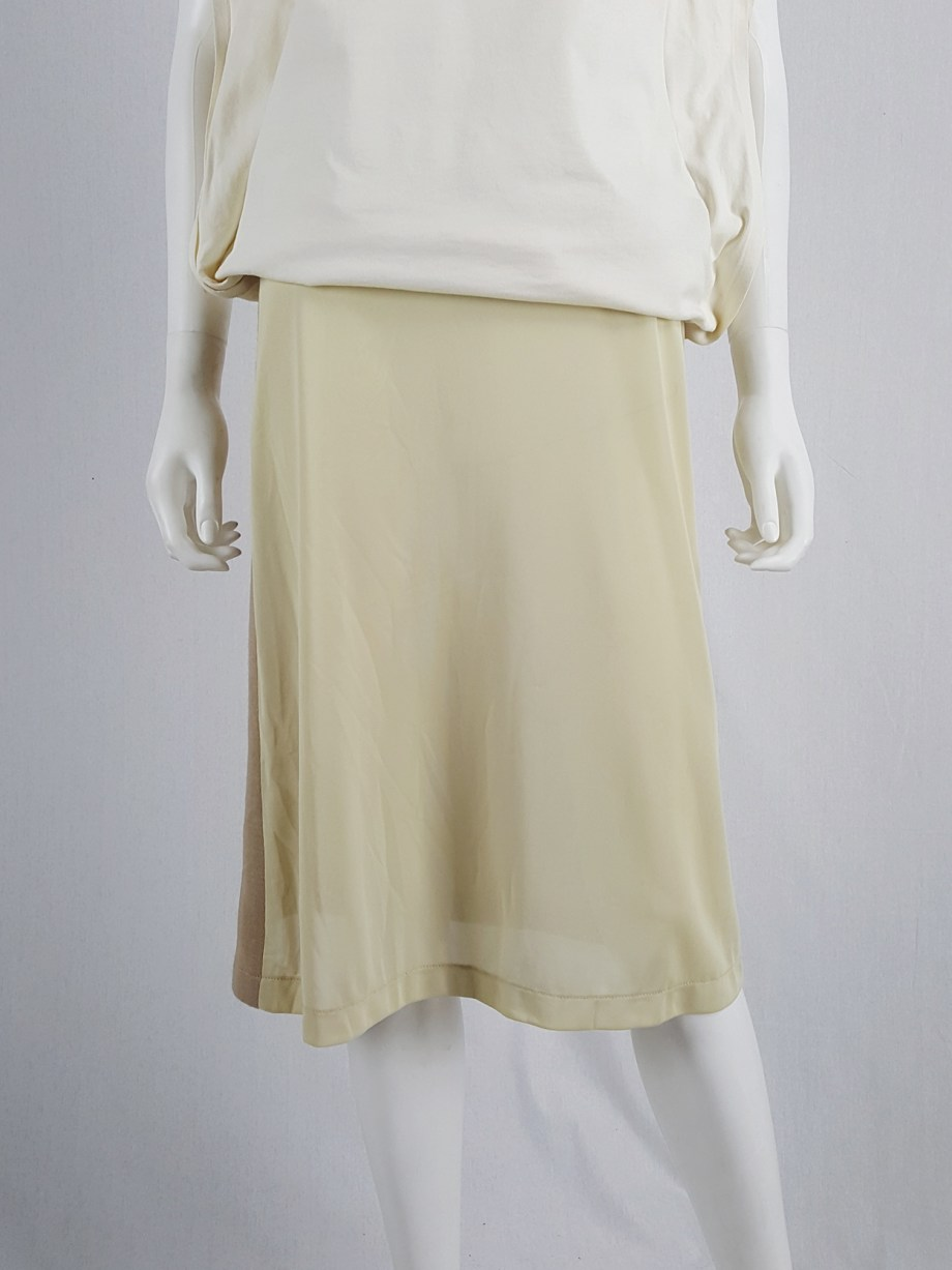 vaniitas vintage Maison Martin Margiela beige skirt with brown back fall 1997 181036