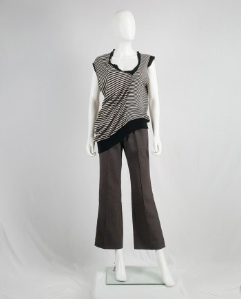 Maison Martin Margiela black and white striped top stretched out on one side — spring 2005