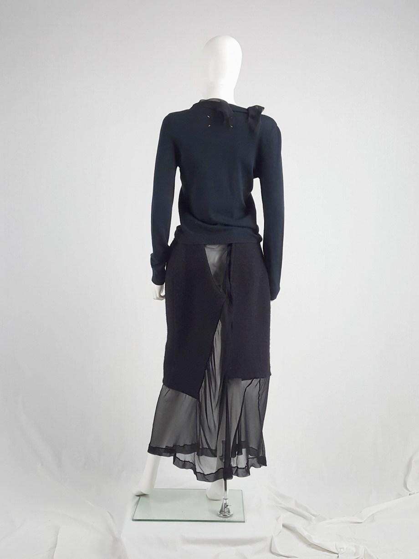 Maison Martin Margiela blue cardigan with silk torn trims — spring 2006