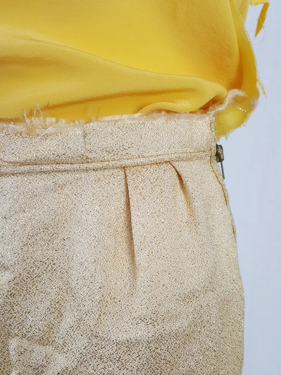 Maison Martin Margiela gold wrinkled skirt in exclusive fabric — fall 2004