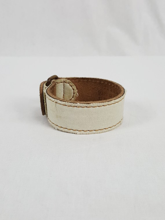 vaniitas vintage Maison Martin Margiela mens bleached denim and leather bracelet spring 2003 152325