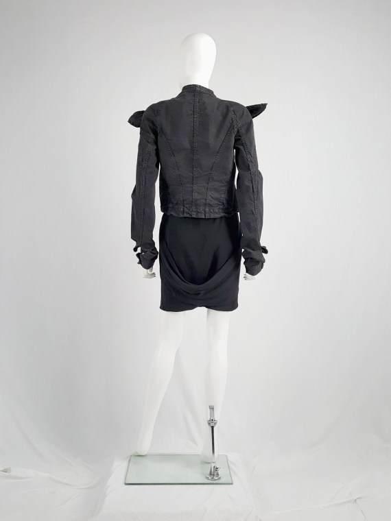 vaniitas vintage Rick Owens GLEAM black shorts with front and back drape runway fall 2010 151748