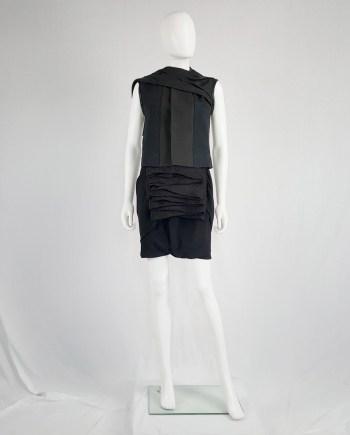 Rick Owens NASKA black sleeveless vest with leather drape — spring 2012