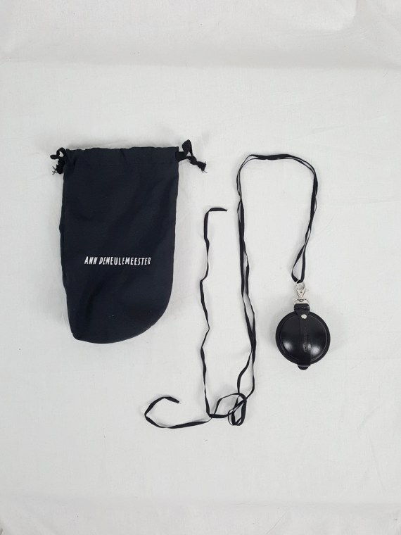 Ann Demeulemeester black leather necklace with round pouch