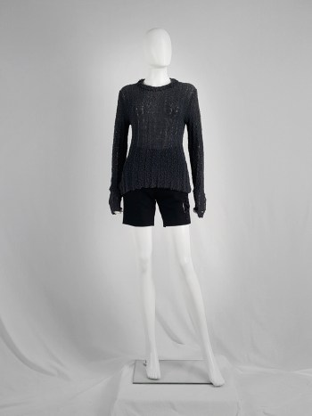 Dries Van Noten dark grey loose knit jumper — 80's