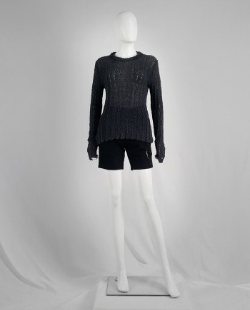 Dries Van Noten dark grey loose knit jumper — 80's