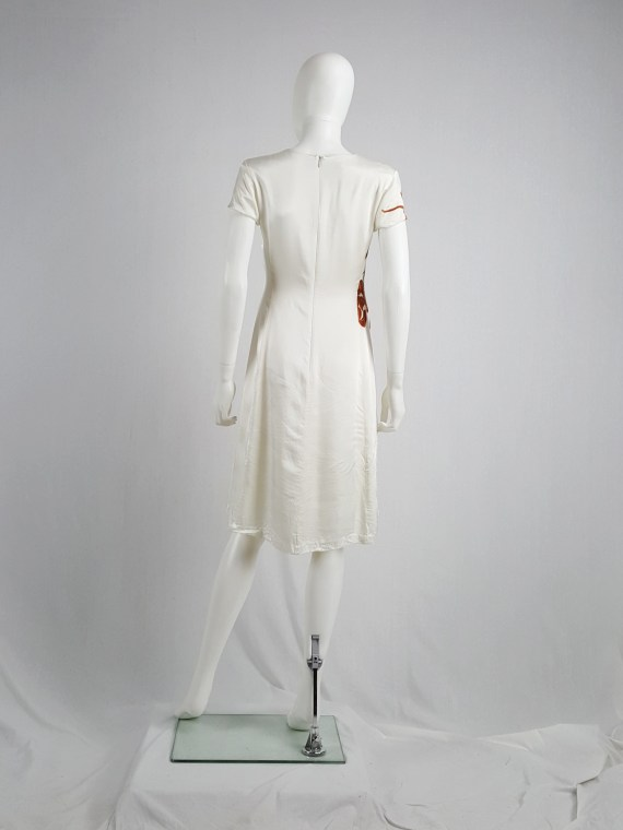 vaniitas vintage Dries Van Noten white dress with orange flowers runway fall 1995 121057