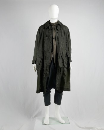 Issey Miyake Windcoat green foldable parka with multiple pockets