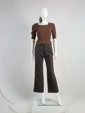 Maison Martin Margiela brown reproduction of a puff sleeve sweater — fall 1994