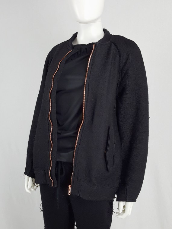 vaniitas Avelon black bomber jacket with frayed trims and copper zipper 122254