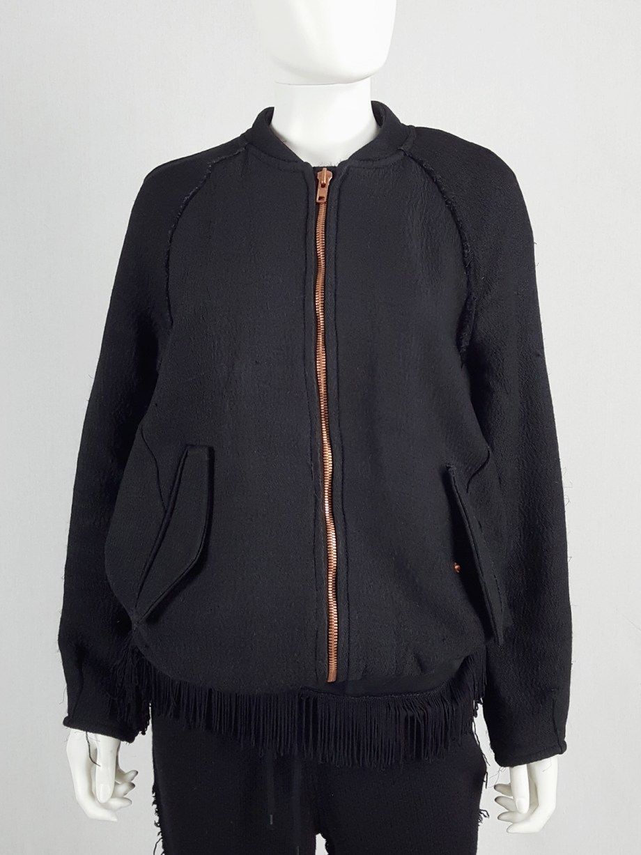 Avelon black bomber jacket with frayed trims and copper zipper