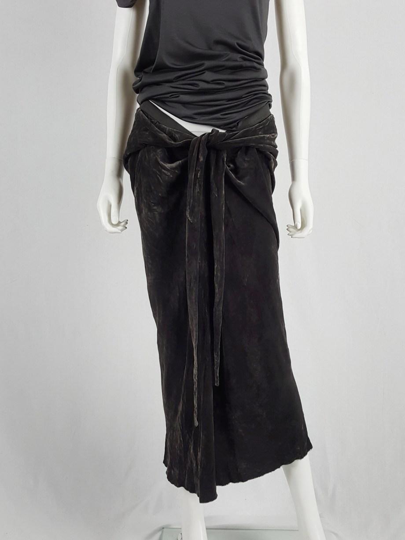 vaniitas Rick Owens MOOG brown velvet draped skirt with front ties runway fall 2005 161154