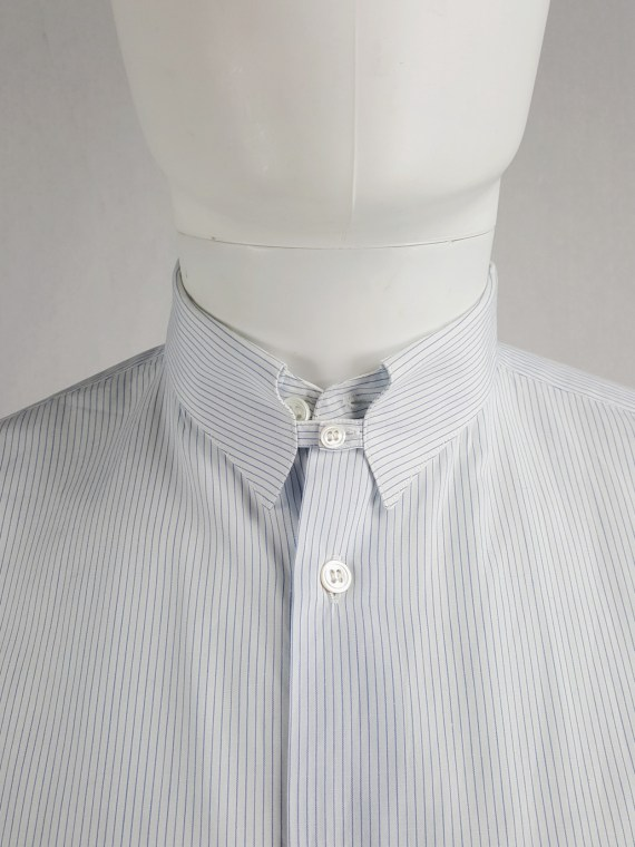 Tokio Kumagaï white and blue striped shirt with collar strap