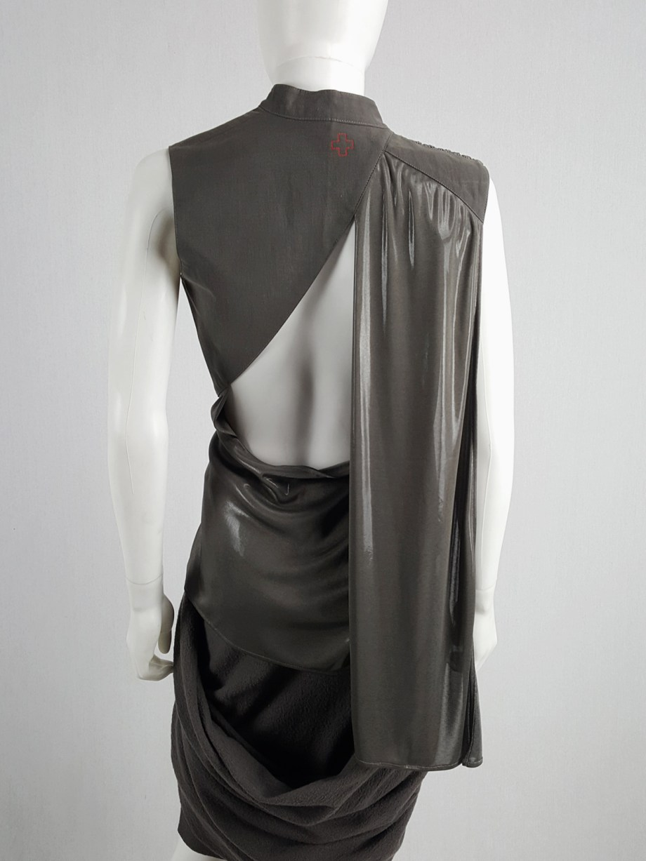 vaniitas vintage A.F. Vandevorst bronze draped top with open back runway spring 2011 164608