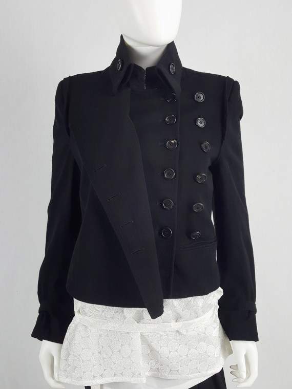 vaniitas vintage Ann Demeulemeester black asymmetric jacket with double button rows runway fall 2010 140822