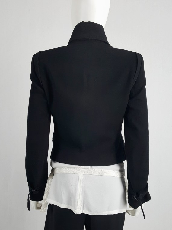 vaniitas vintage Ann Demeulemeester black asymmetric jacket with double button rows runway fall 2010 141048