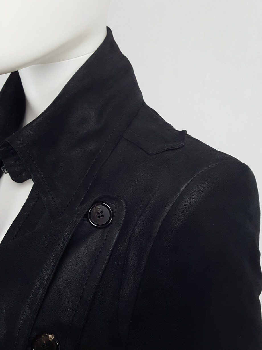 Ann Demeulemeester black leather double breasted military coat — fall 2004