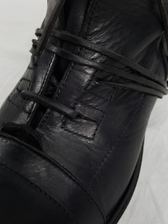 Dirk Bikkembergs black tall lace-up boots with laces through the soles 90S archiva