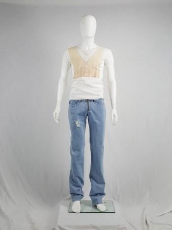 Dirk Bikkembergs denim trousers with leg pocket and trompe-l'oeil back pocket — spring 2005