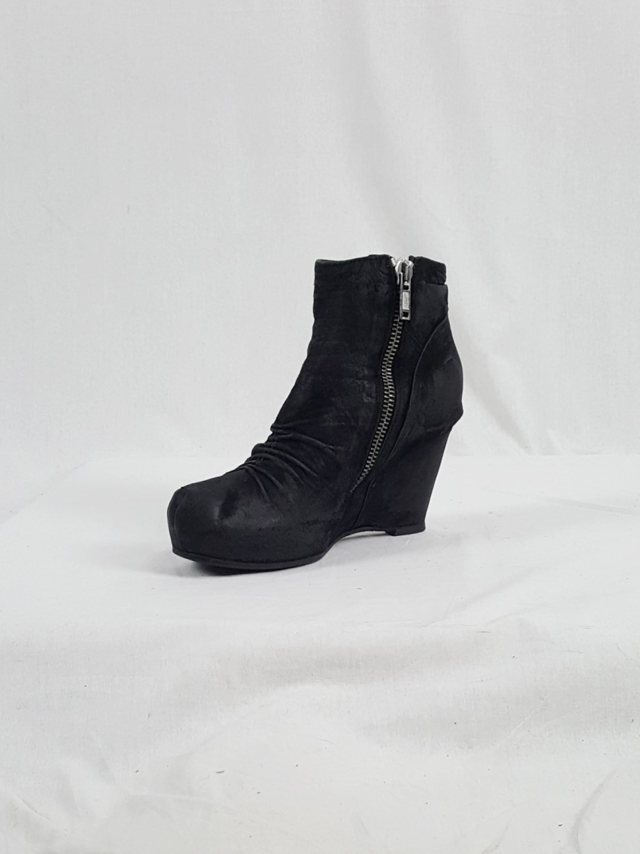 vaniitas vintage Rick Owens black suede ankle boots with wedge heel and hidden platform 152741