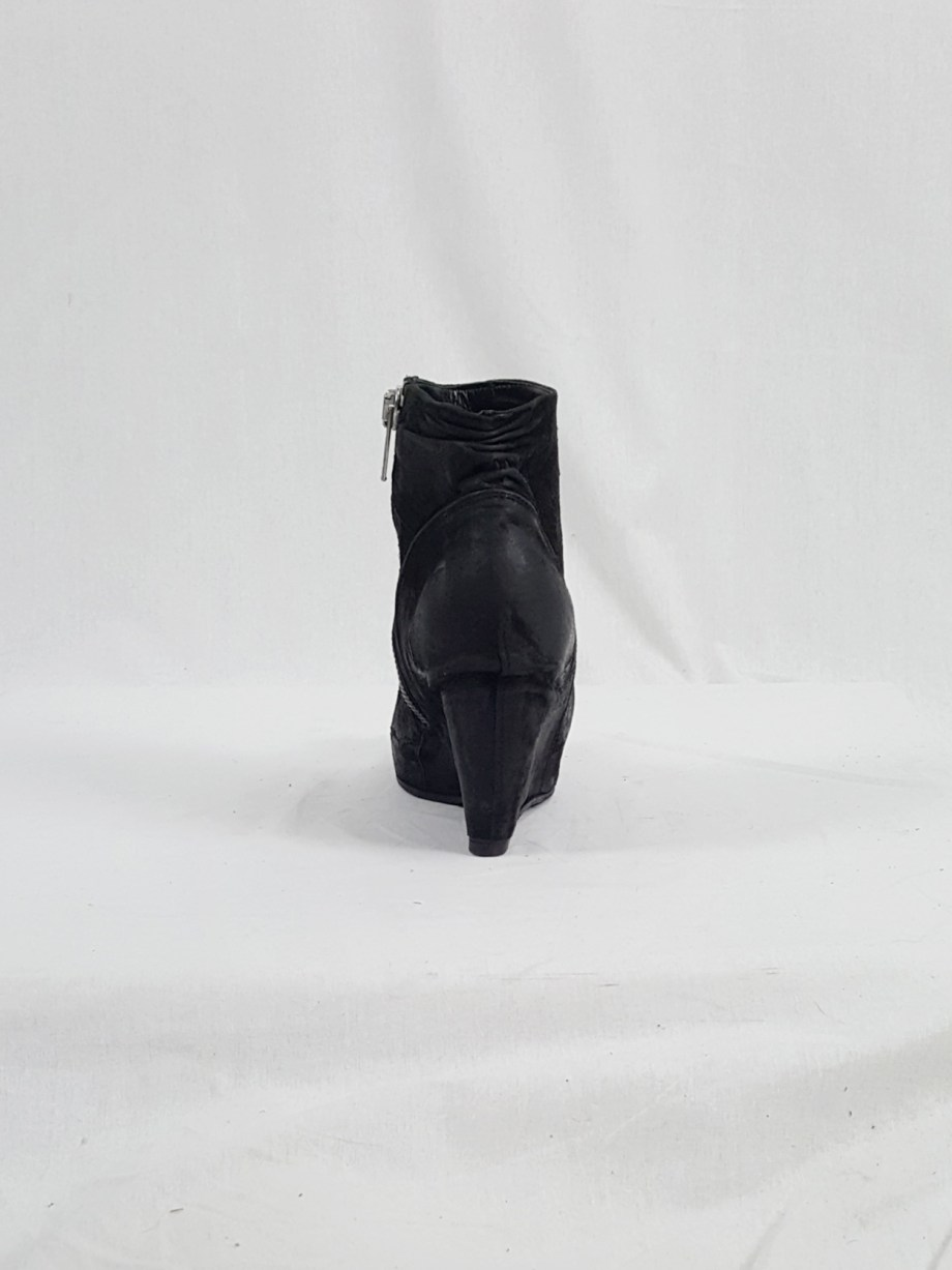 vaniitas vintage Rick Owens black suede ankle boots with wedge heel and hidden platform 152945