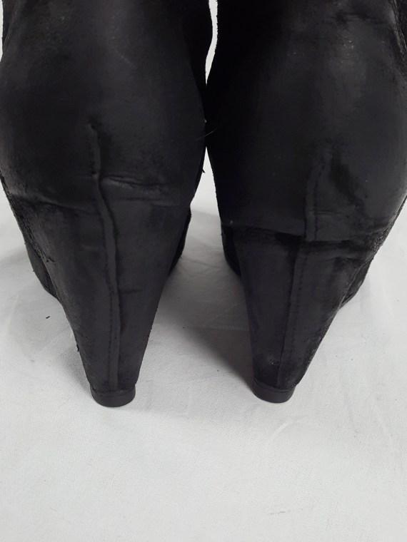 vaniitas vintage Rick Owens black suede ankle boots with wedge heel and hidden platform 153234