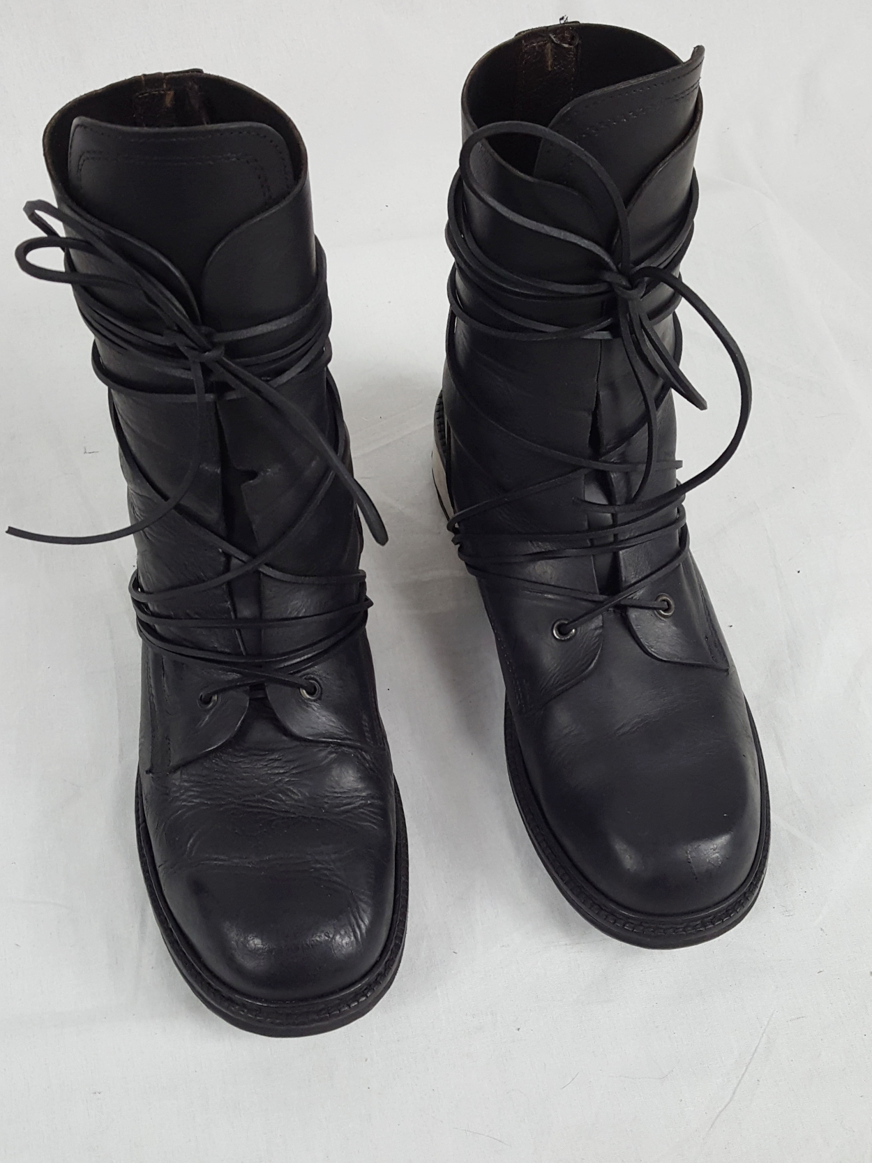 Dirk Bikkembergs black tall boots with laces through the