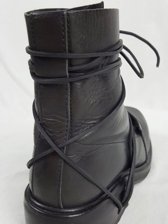 vaniitas vintage Dirk Bikkembergs black tall boots with laces through the soles 90s archive 103759