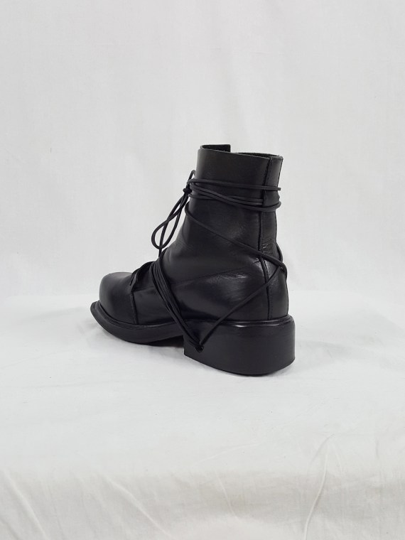 vaniitas vintage Dirk Bikkembergs black tall boots with laces through the soles 90s archive 104137(0)