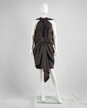 Haider Ackermann brown sleeveless draped top — spring 2010