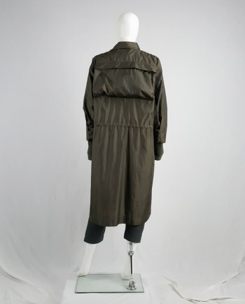 Issey Miyake Windcoat khaki oversized parka that folds into a bag