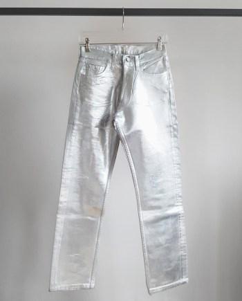 Maison Martin Margiela artisanal silver painted denim trousers — fall 1998