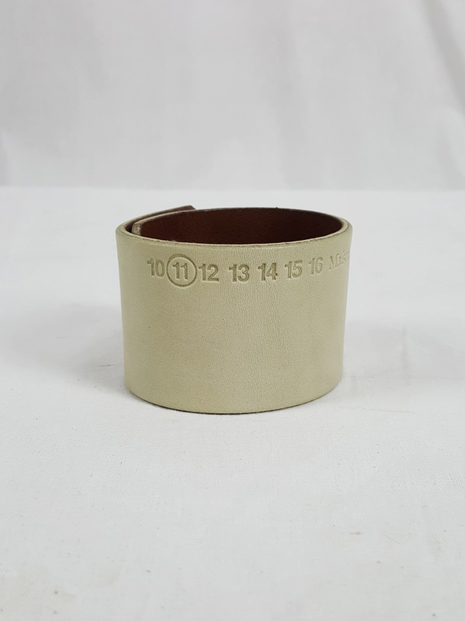 vaniitas vintage Maison Martin Margiela white leather bracelet with embossed logo spring 2009 112639