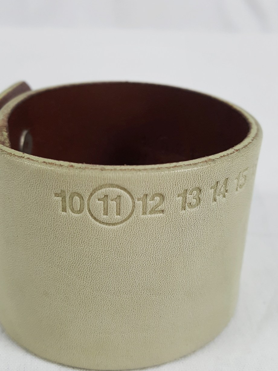 vaniitas vintage Maison Martin Margiela white leather bracelet with embossed logo spring 2009 112653