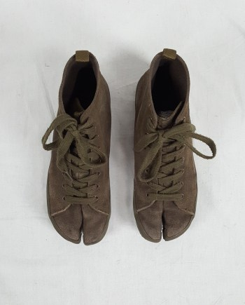 Maison Martin Margiela 6 green high-top tabi sneakers (37) — spring 2005