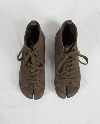 Maison Martin Margiela 6 green high-top tabi sneakers (37) — spring 2005
