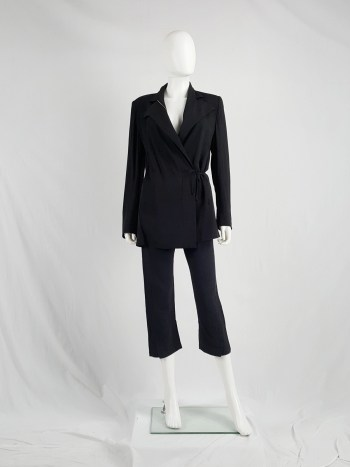 Ann Demeulemeester black striped cropped trousers with curved legs
