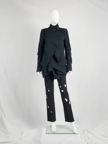 Ann Demeulemeester dark blue asymmetric blazer with buttons — spring 2006