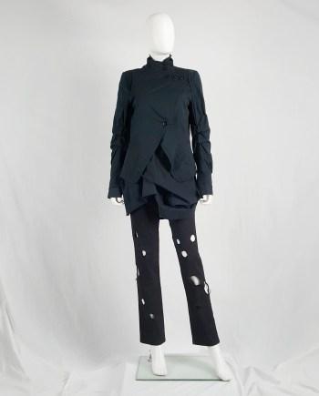 Ann Demeulemeester dark blue asymmetric blazer with buttons — spring 2006