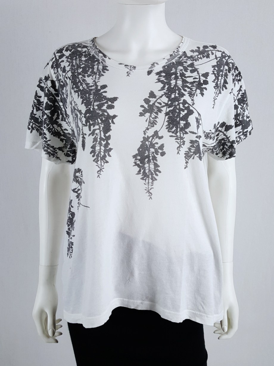 Ann Demeulemeester white t-shirt with black wisteria print — spring 2014