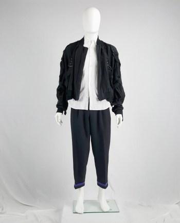 Comme des Garçons Homme black harem trousers with blue ankle band — AD 1996