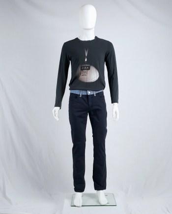 Dirk Bikkembergs dark blue trousers with integrated denim waistband