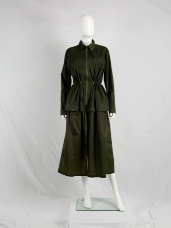 Issey Miyake Windcoat green oversized or dress-shaped parka — 1990s