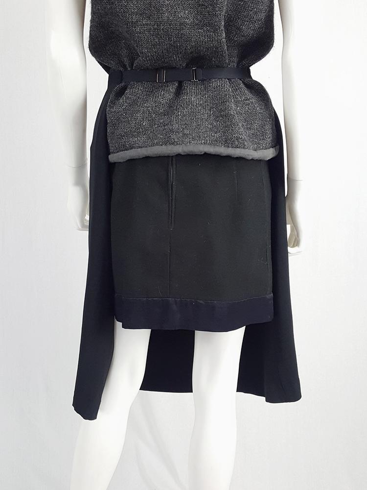 Maison Martin Margiela black skirt worn as an apron — spring 2004