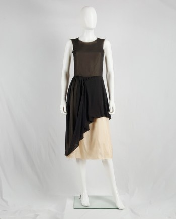 Maison Martin Margiela brown dress with lifted up skirt — spring 2003