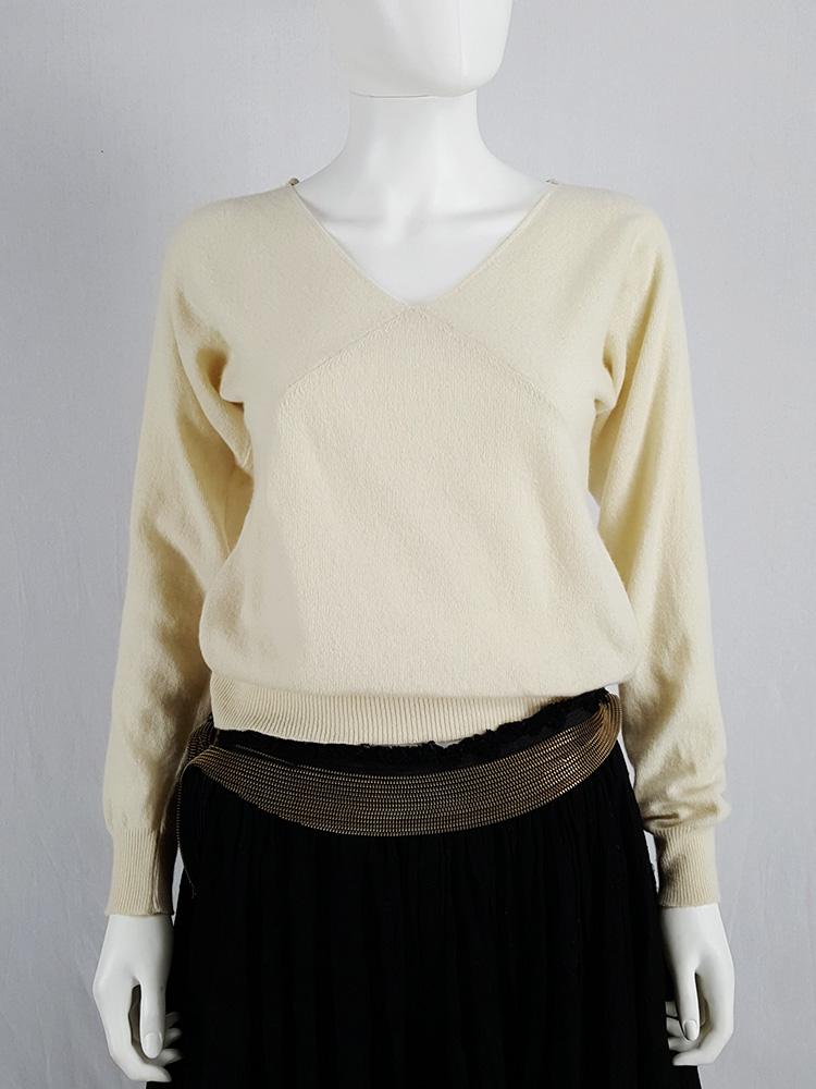 Maison Martin Margiela yellow triangle cut jumper — spring 2002