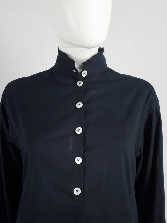 Ann Demeulemeester black draped shirt with frayed collar — spring 1994