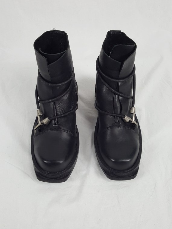 Dirk Bikkembergs black mountaineering boots with black and blue elastic (42) — spring 1999