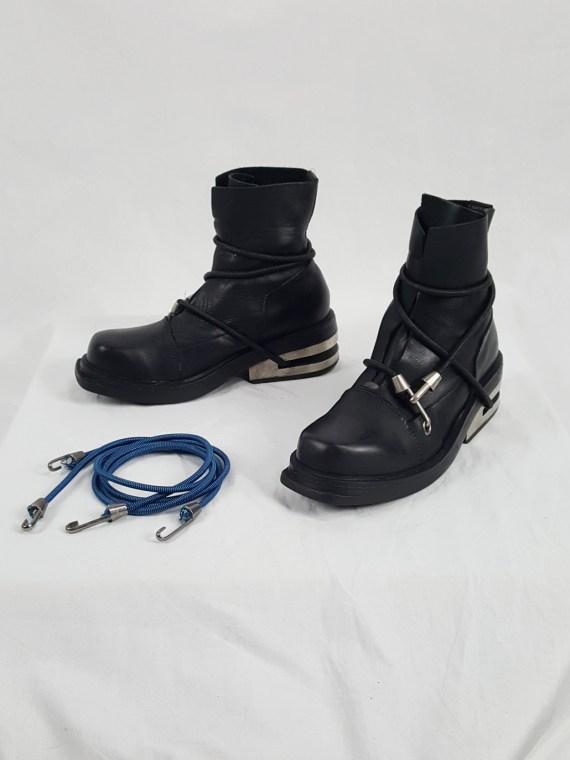 Vaniitas vintage Dirk Bikkembergs black mountaineering boots with black and blue elastic spring 1999 152521 copy